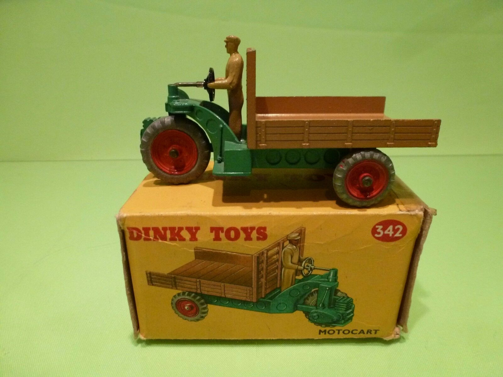 DINKY TOYS 27G 342 MOTOCART MOTOCARRETA - vert + marron - NEAR MINT IN BOX