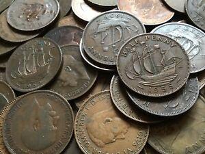 20-Stueck-Umlaufmuenzen-Half-Pennys-Grossbritannien-gemischt