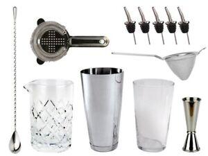 NEW-Bartender-039-s-Bar-Kit-with-Boston-Cocktail-Shaker-amp-Glass-Drinks-Bar-Set