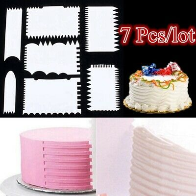 Acrylic Plastic Cake Comb Edge Scraper Baking Cutter Smoother Icing Dough Tool