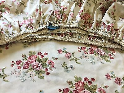Vintage Ralph Lauren Emily Anne Rose Floral Fitted Sheet ~ Shabby Cottage Chic ~