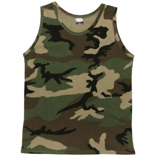 CLASSIC US ARMY VEST SINGLET COMBAT TANK TOP MILITARY CAMO TSHIRT 100% COTTON
