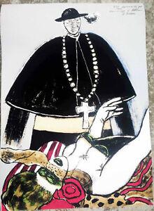 Guillaume-Corneille-litografia-cm-50-x-70-034-Omaggio-a-Fellini-034