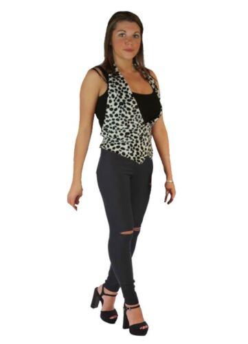 Ladies 101 Dalmatian Cruella Deville Spots Fancy Dress Backless Waistcoat ONLY