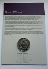 2017 UK ROYAL MINT HOUSE OF WINDSOR £5 FIVE POUND COIN BU ON CARD - COIN HUNT #3