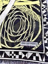EMILIO PUCCI Lemon & NERO LANA & SETA Star & ZODIAC Stola/Scialle/sciarpa nuova con etichetta