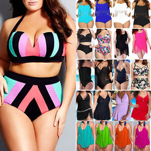 9e5b66e4e45 Image is loading Plus-Size-Womens-Tassel-High-Waist-Padded-Bikini-