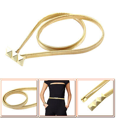 Women Gold Stretchable Metal Belt Round Pin Buckle Ladies Adjustable Waistband