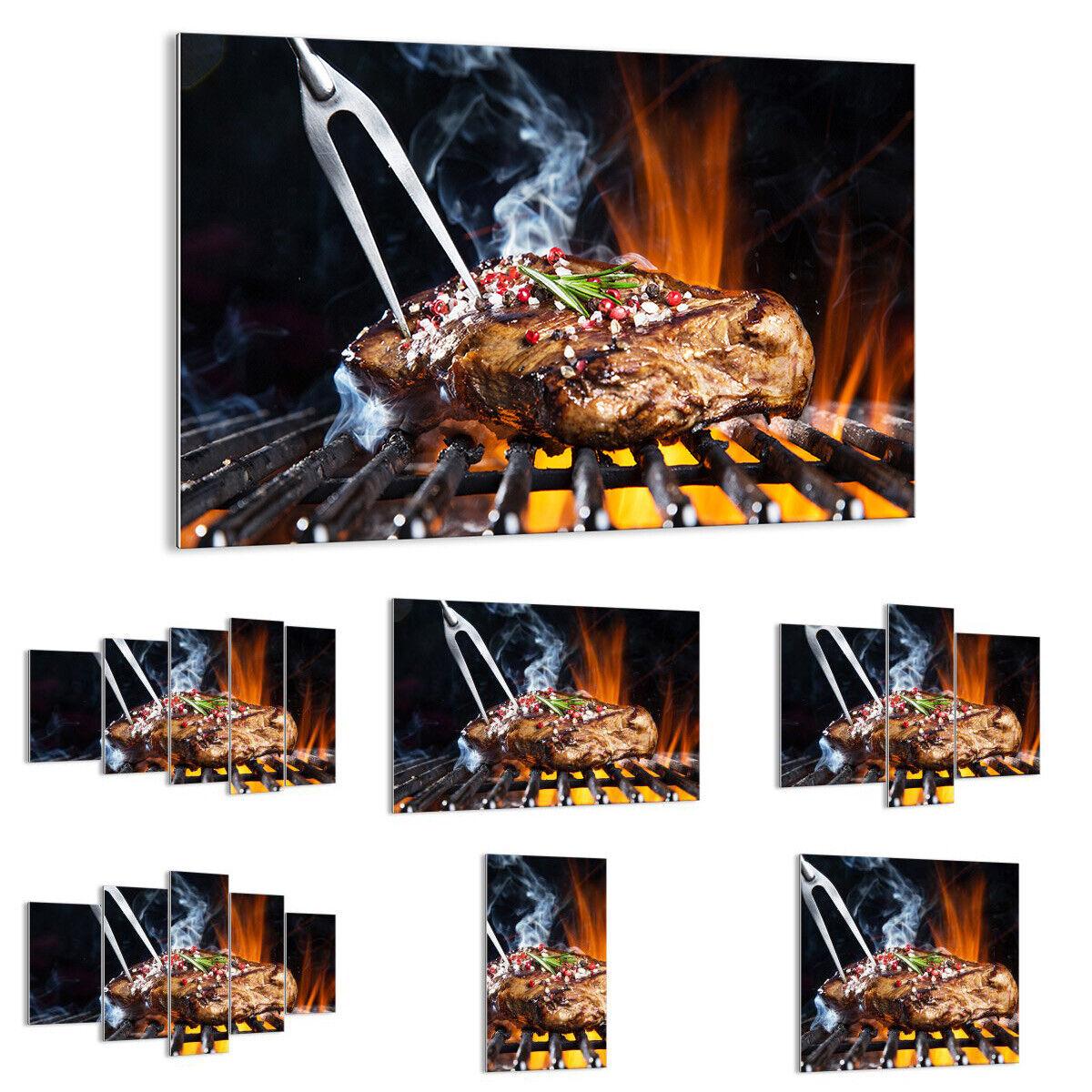 GLASBILD Wandbild Deko Steak Grill Flammen Essen 2865 DE