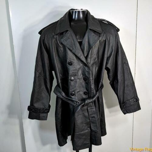 Belted Leather JACKET Coat Womens Size L Black