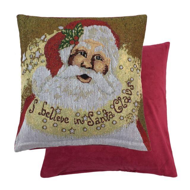 "CHRISTMAS SNOWMAN SANTA REINDEER TREE WOVEN CHENILLE RED CUSHION COVER 18/"""