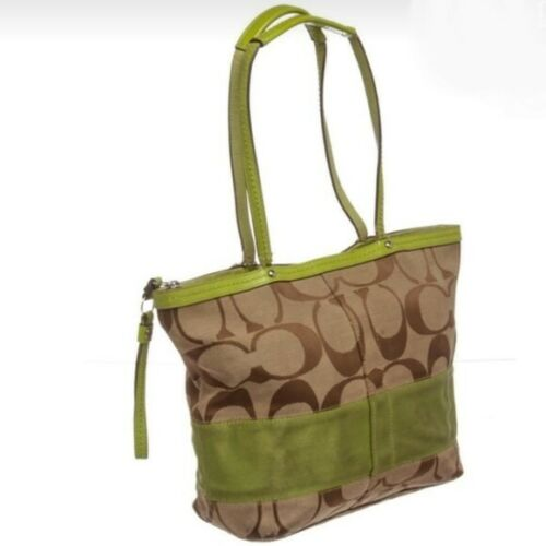 Coach Monogram Fabric & Lime Green Leather Bag Zip