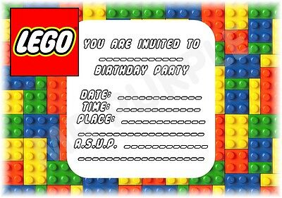 Cool Kids Childrens Party Invitations 12 x Coloured Lego Bricks Party Invites
