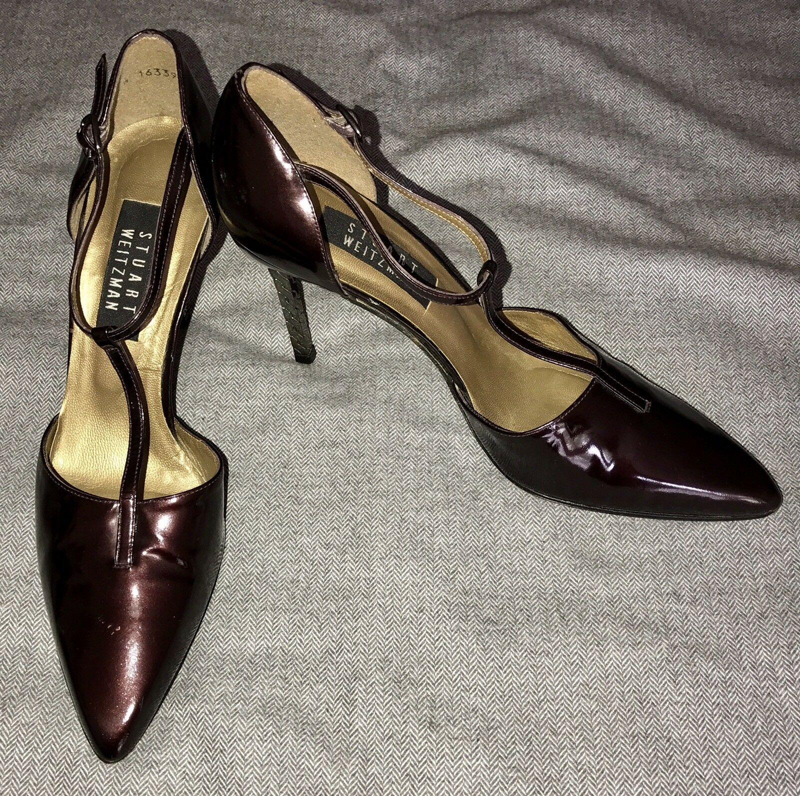 Stuart Weitzman Heels Size Buckle 8.5 Red Patent Leather Buckle Size GUC eb720d