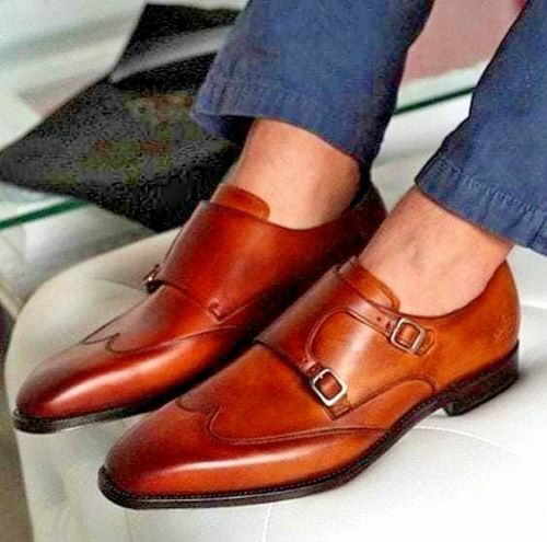 Mens Handmade shoes Brown Leather Tan Double Mont Strap Formal Dress Wear Boots