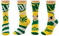 Nintendo Legend Of Zelda Reversible Mens Crew Socks Cartoon Link Triforce Logo