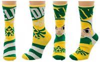 Nintendo Legend Of Zelda Reversible Mens Crew Socks Cartoon Link Triforce Logo