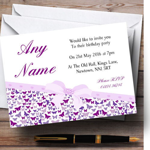 Classic Purple Butterfly Pretty Butterflies Birthday Personalised Invitations