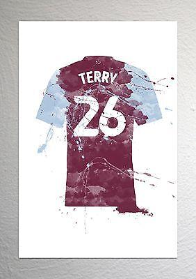 John Terry Aston Villa Football Shirt Art A4 Size Splash Effect