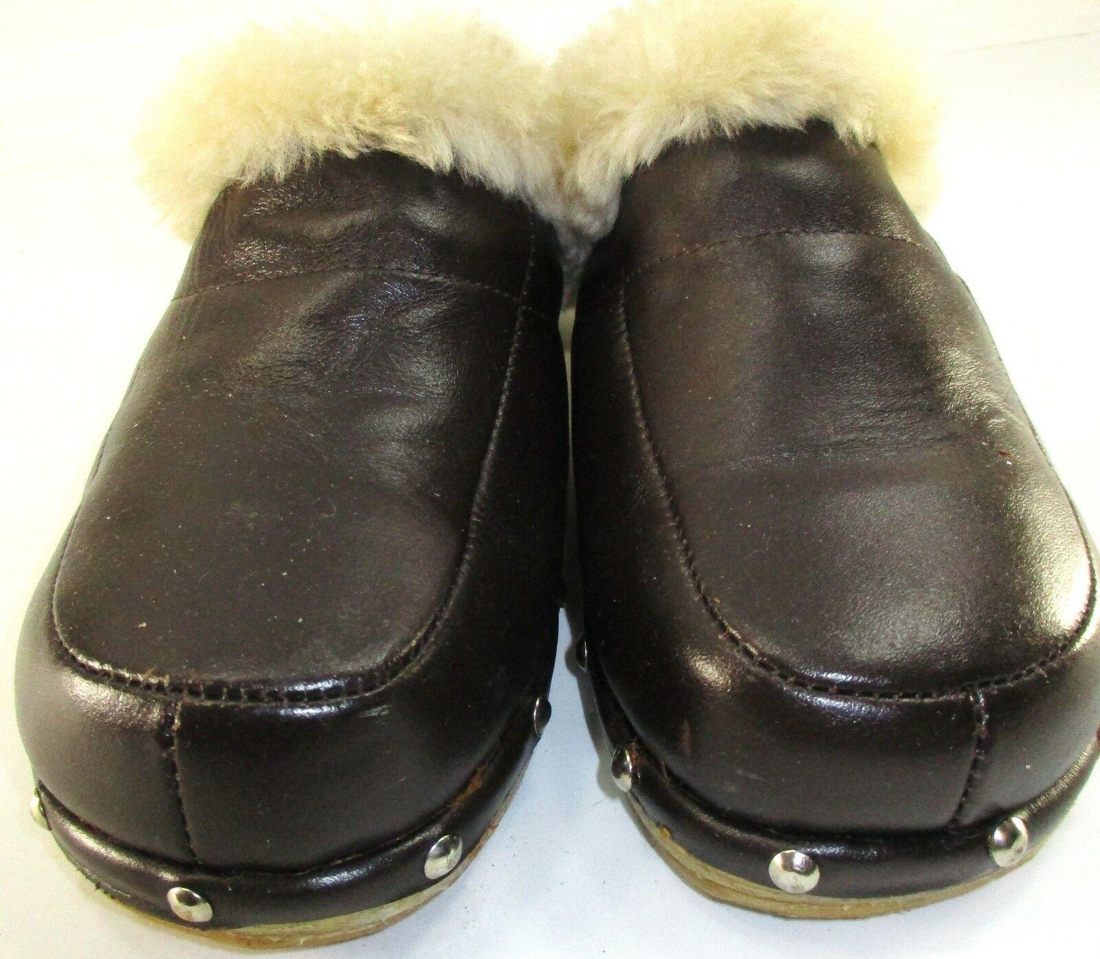 RJS Fussies femmes Clogs chaussures Taille 7 marron Sheep Sheep Sheep Skin Fur Lined 333ba5