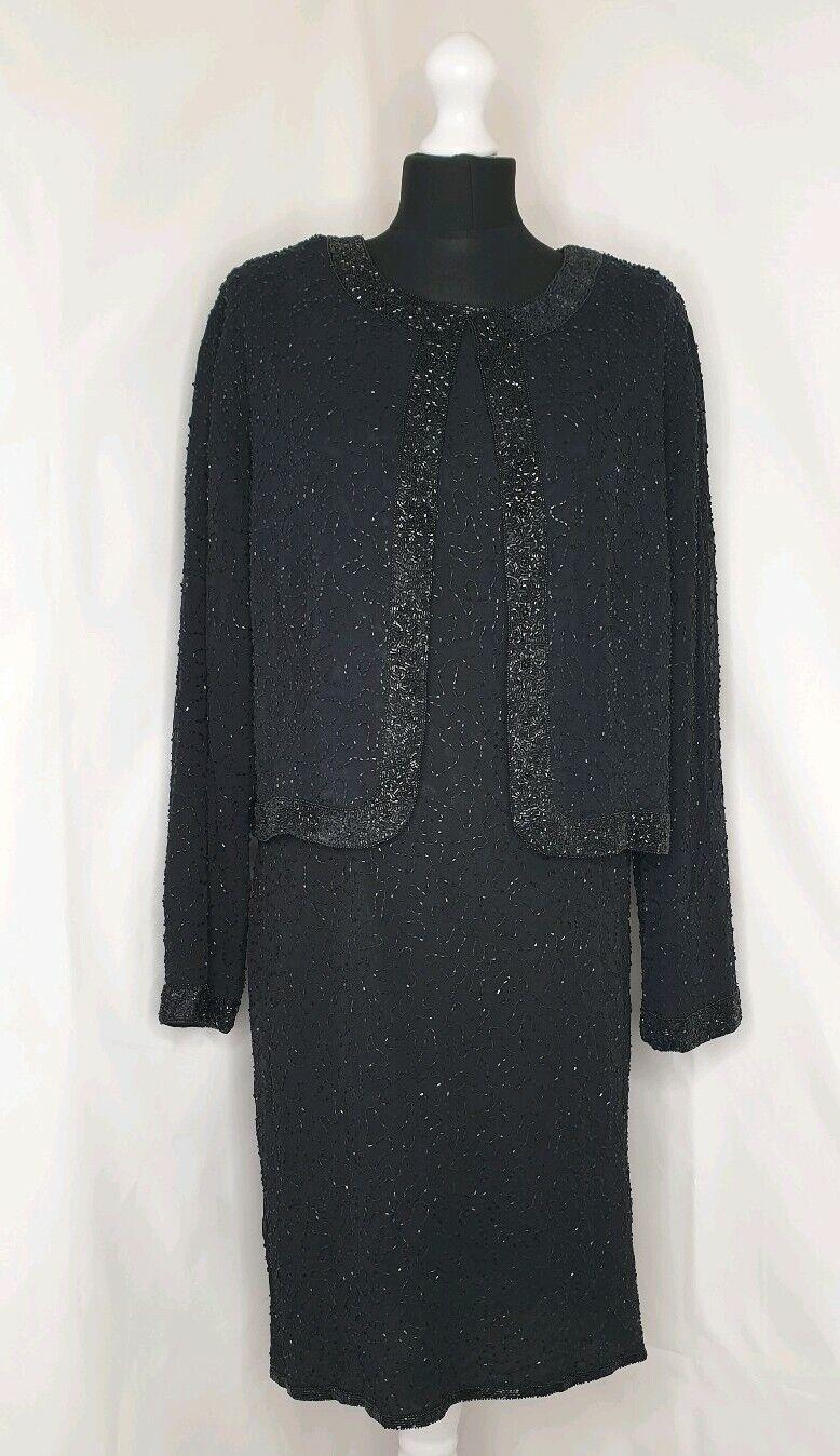 Noir de perles sans hommeches occasion spéciale Soirée Robe & Veste SET UK 18