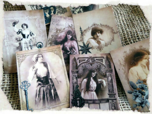 Set of Eight Vintage Gypsy Photographs Tags//Toppers//Embellishments