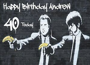 Pulp Fiction Image By Banksy Personalised Birthday Card