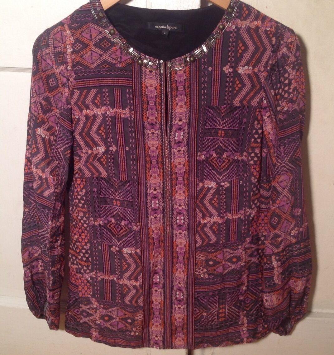 NEW AUTH  NANETTE LEPORE damen lila and Rosa 100% Silk Blouse Shirt Größe 0