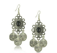 Turkish Style Silver Color Coin Earrings With Black Stone