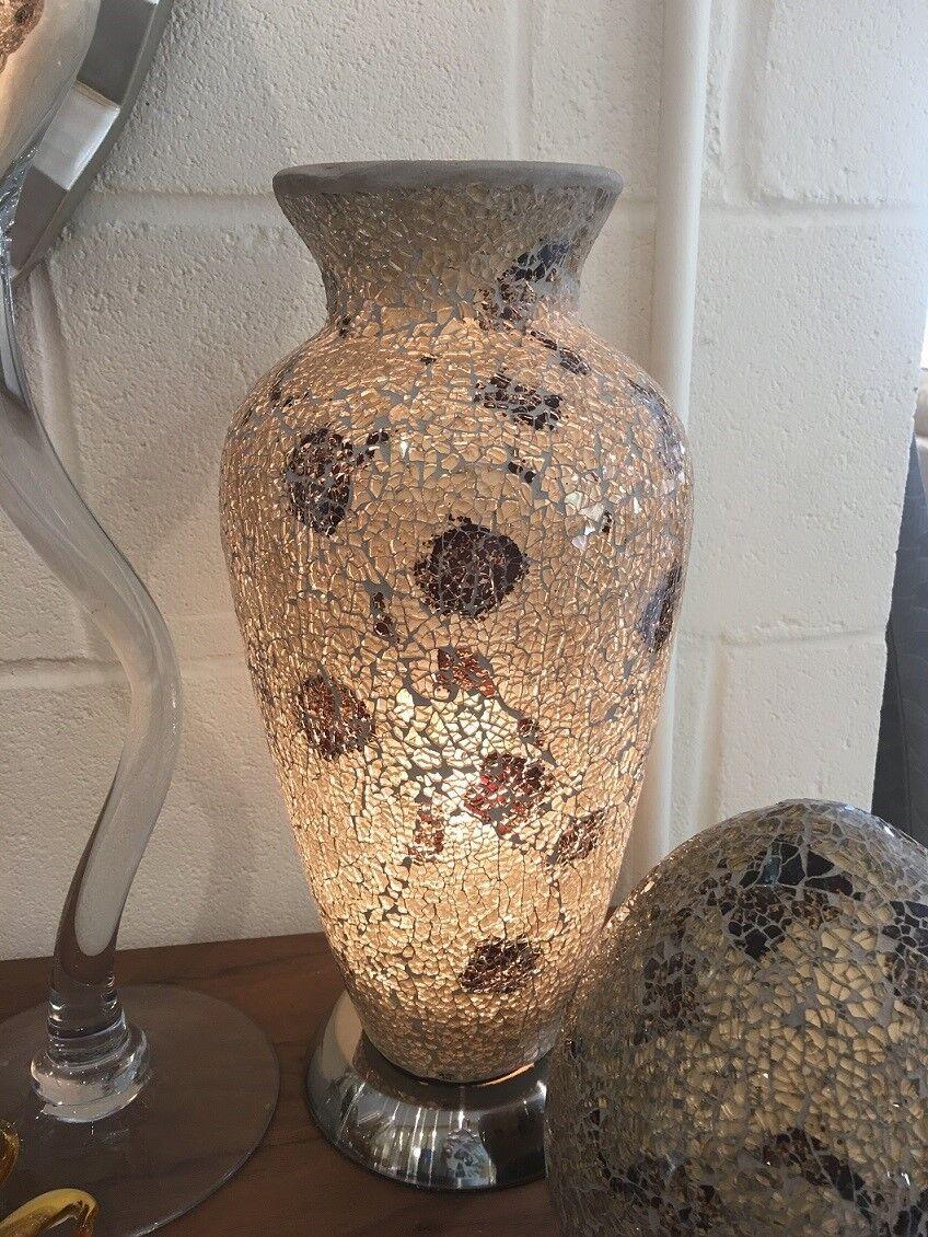 Modern Gold & Amber Mosaic Vase Lamp - Heavy Glass Living Room Light Lamps