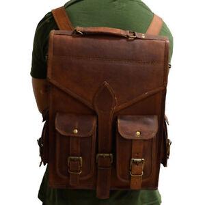 Men-039-s-Leather-Backpack-Laptop-Vintage-Satchel-Travel-School-Rucksack-Bag