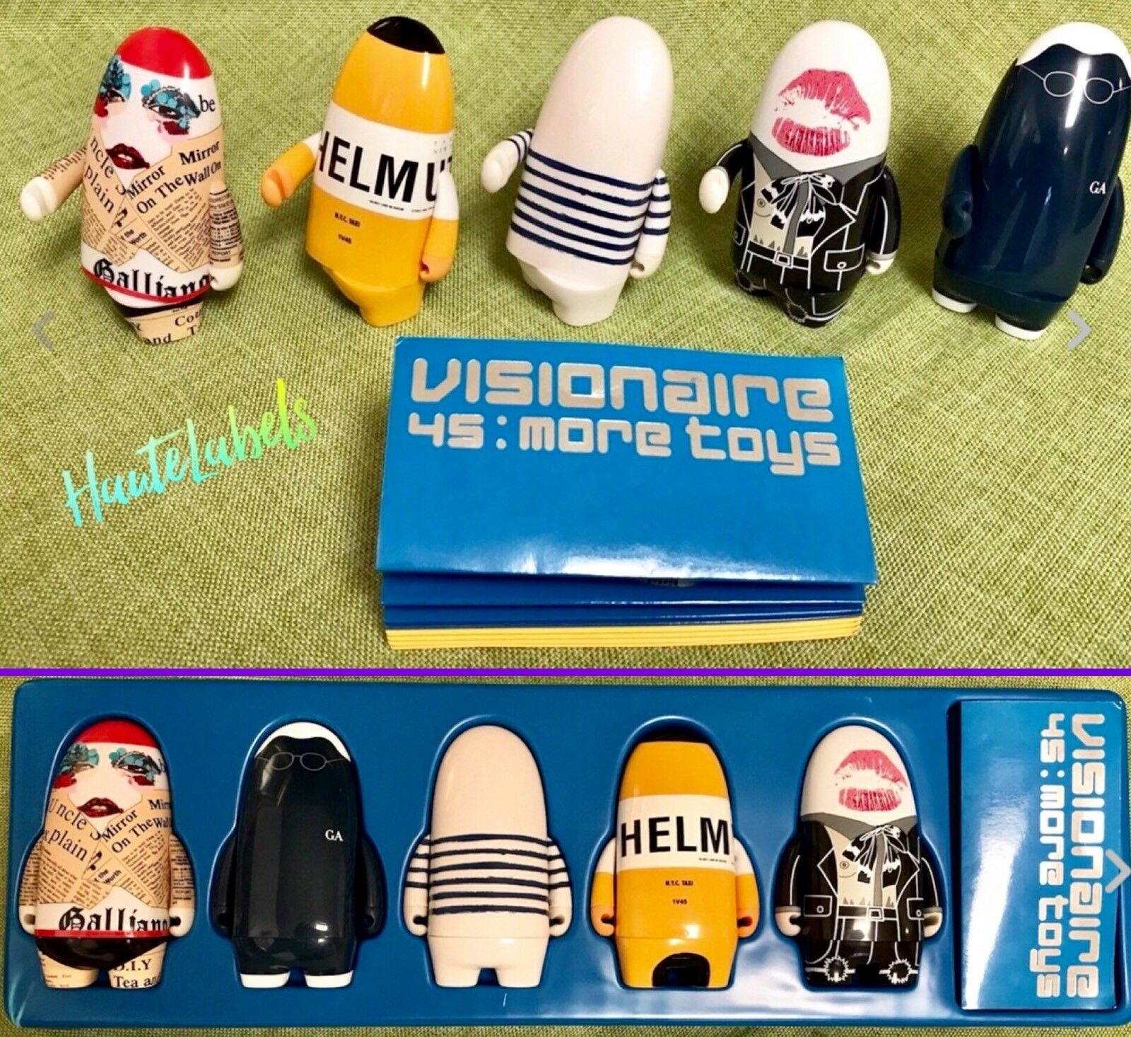 KIDROBOT 45 More Toys VISIONAIRE bluee Set GAULTIER, ARMANI, LANG, GALLIANO, YSL