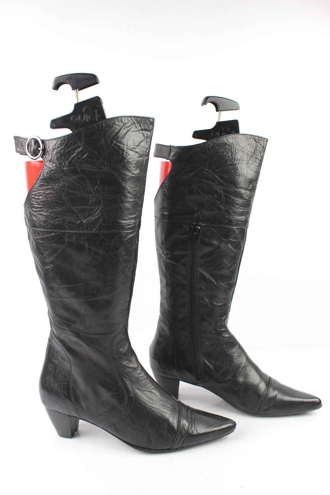 Stiefel 2D2 DOSDEDOS schwarzes Leder Kälber Überziehungen t 38