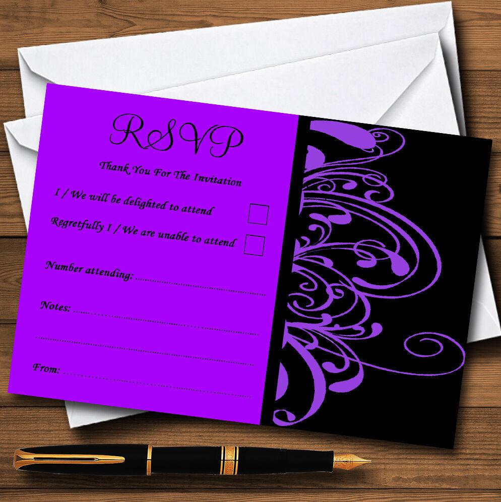 Black & Violet  swirl déco personnalisé cartes rsvp cartes personnalisé d9921c