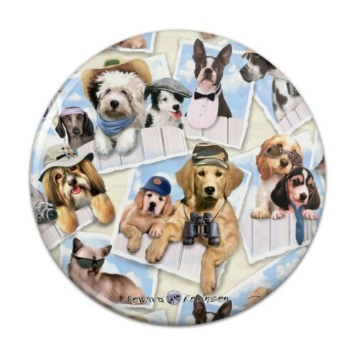Cool Dogs on Framed on Fence Pattern Pinback Button Pin Badge