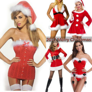 0c7ff2efc51 Details about Women Xmas Hooded Novelty Outfit Sexy Mrs Claus Corset Santa  Costume Fancy Dress