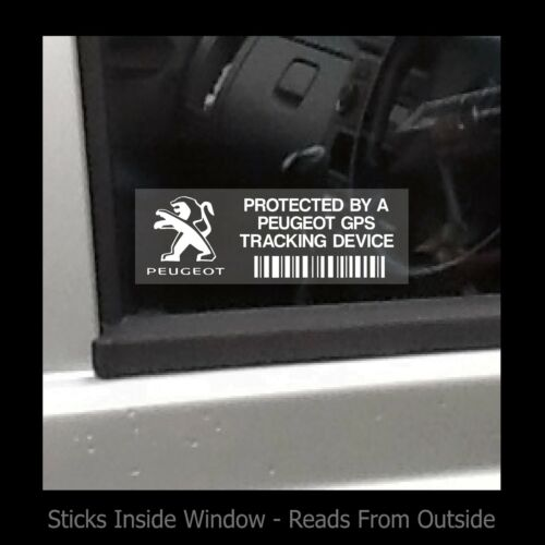 Car Window Sticker // Sign Protected by Peugeot GPS Tracker Device Security