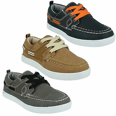 N1090 Boys Jcdees Flat Lace Up Casual Lace Up Boat Deck Shoes UK Sizes 10-3