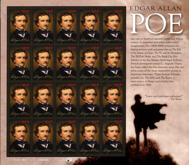 2009 42c Edgar Allan Poe, American Author, The Raven Sc