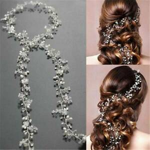 Women-Pearl-Wedding-Hair-Vine-Crystal-Bridal-Accessories-Diamante-Headbands-NEW