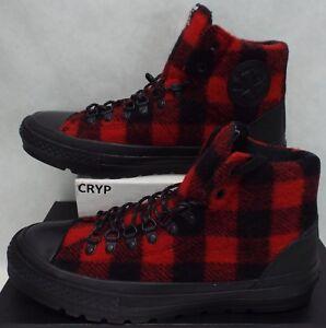 e6297e898a0 New Mens 9.5 Converse CTAS Street Hiker Hi Black Red Plaid Boots ...