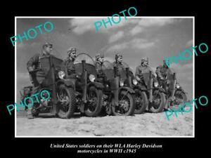 POSTCARD-SIZE-PHOTO-OF-WWII-USA-MILITARY-HARLEY-DAVIDSON-WLA-MOTORCYCLES-c1945