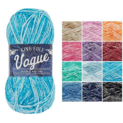 100/% Cotton Muchos Colores Vogue DK Hilo De Ganchillo por King Cole 50g Bolas *