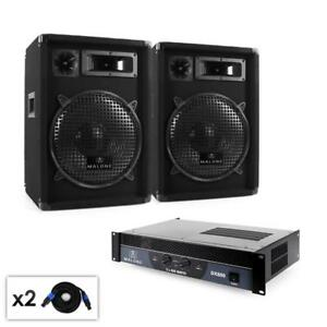 DJ-PA-PARTY-MUSIK-SOUND-ANLAGE-PAAR-300W-RMS-LAUTSPRECHER-amp-1-2-KANAL-ENDSTUFE
