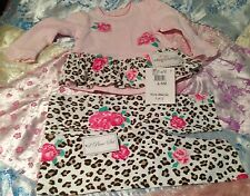 Hartstrings baby girl outfit top and pants leopard print, flowers, 6-9 M