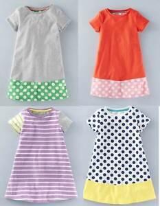 Mini Boden girls jersey summer colour block dress / tunic 4 styles grey blue red