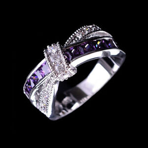 Purple-Amethyst-amp-CZ-Criss-Cross-Ring-Band-Size-8-White-Gold-Filled-Jewelry-Gift