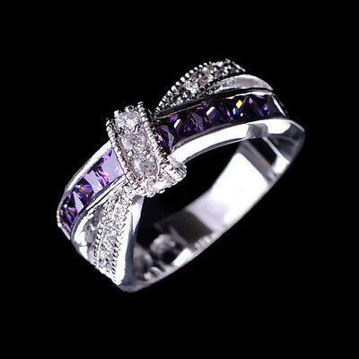 Purple Amethyst & CZ Criss Cross Ring Band Size 6-10 White Gold Filled Jewelry