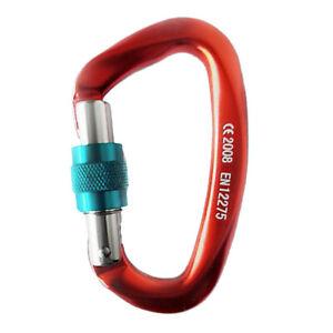 25KN-Screw-Locking-Carabiner-Aluminum-Rock-Climbing-Descending-Buckle-Hooks