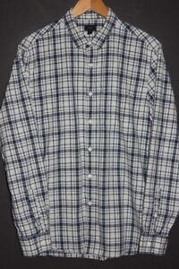 J-CREW-Men-039-s-HEATHERED-SLUB-COTTON-Shirt-sz-M-Medium-Blue-White-Plaid